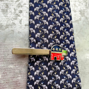 red and blue Republican elephant tie clasp