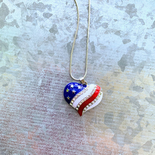 USA flag heart necklace